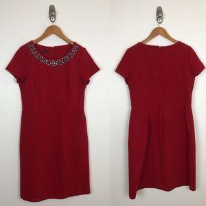 Talbots sheath dress with jeweled neck sz L